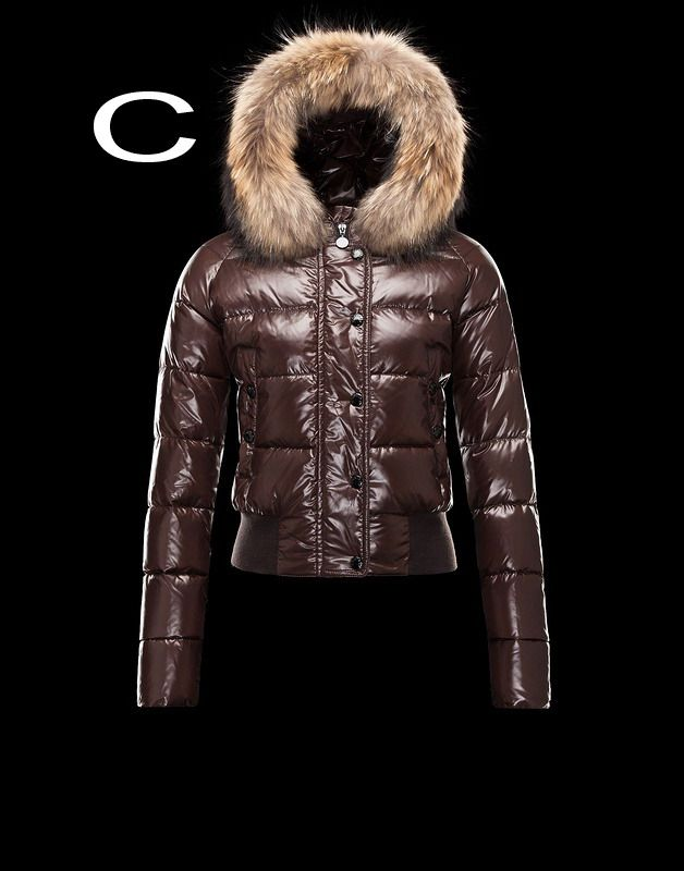 Moncler Alpin Women Detachable Real Fur Collar Hood Jacket Coffee Outlet  Sale