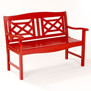 Red Wooden Garden Bench.....imagine With Some Yellow And White Pillows