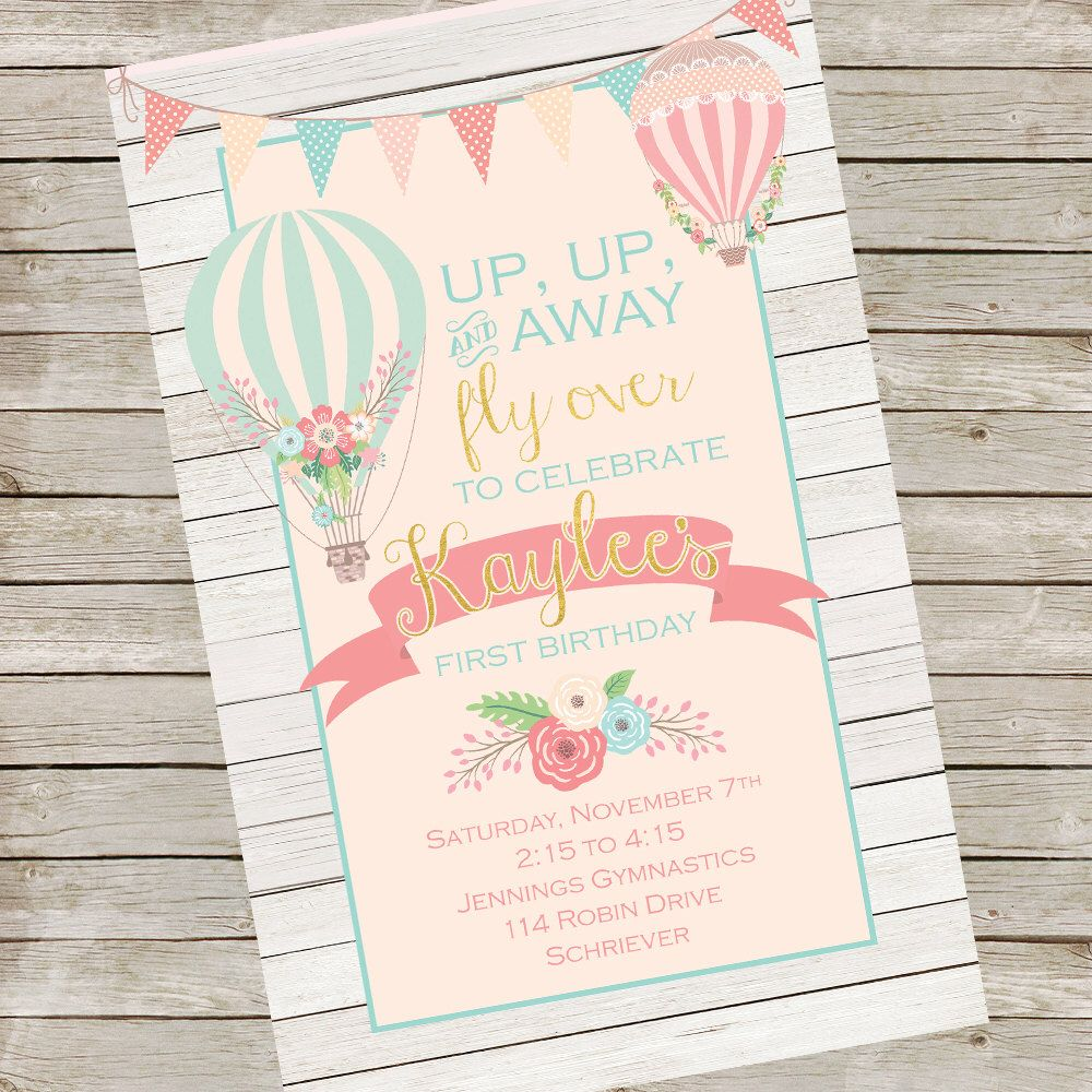 Hot air balloon party invitation up up and away shabby chic hot air balloon party invitation up up and away shabby chic collection gwynn wasson designs printables caras first birthday pinterest balloon filmwisefo Choice Image
