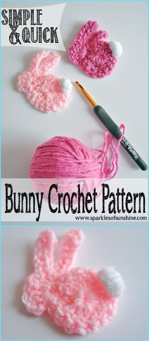Crochet Simple & Quick Bunny Applique Free Pattern-Crochet Bunny ...