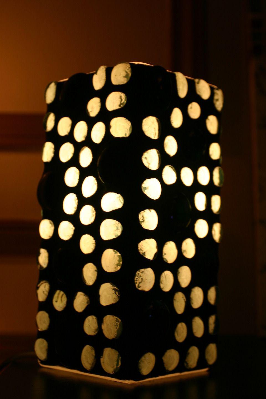 Lampe De Table Carre Mosaique De Galets De Verre Luminaires Par Atelier Normand Luminaire Mosaique De Galets Lampes De Table
