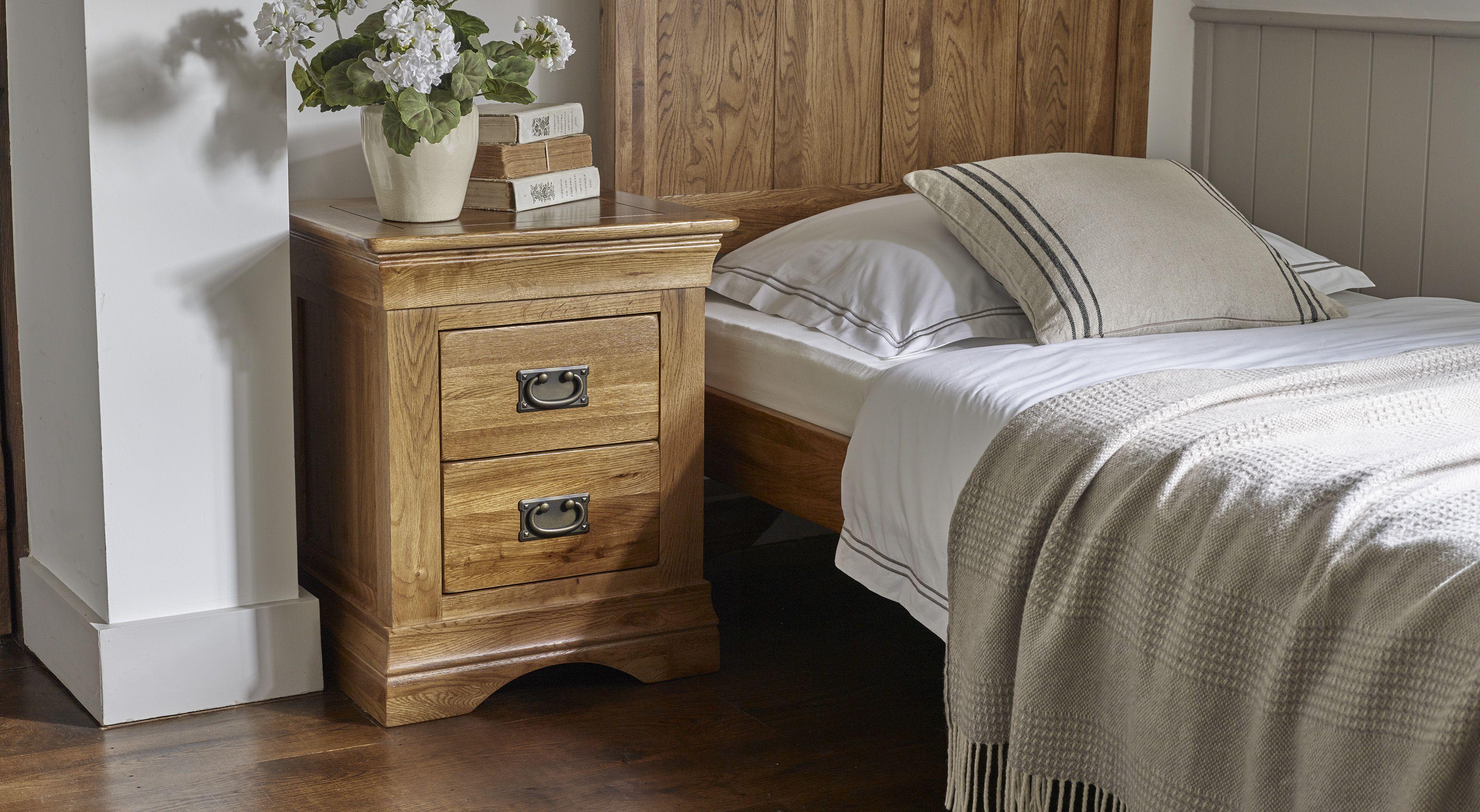 French Farmhouse Rustic Solid Oak 2 Drawer Bedside Table Oak