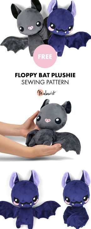 Floppy Bat Stuffed Animal Toy Sewing Pattern -
