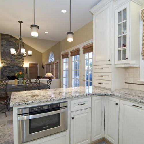 "Kitchen Bar Against Wall: ""bianco Antico"" Granite Countertop Kitchen Design Ideas"