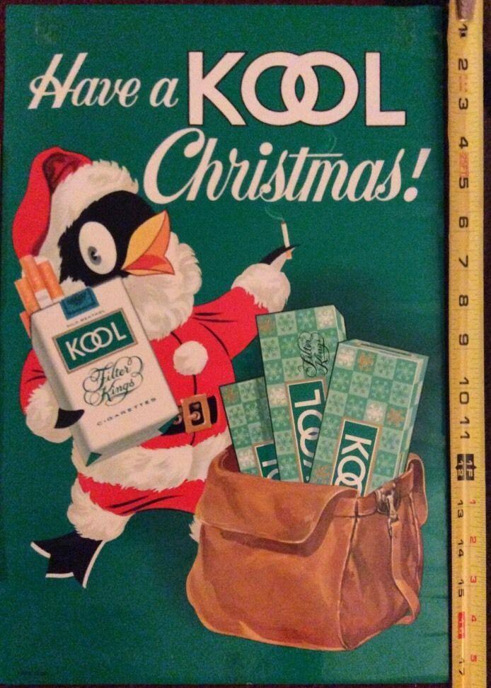 1950s Kool Cigarettes Christmas Paper Sign And Carton Santa And