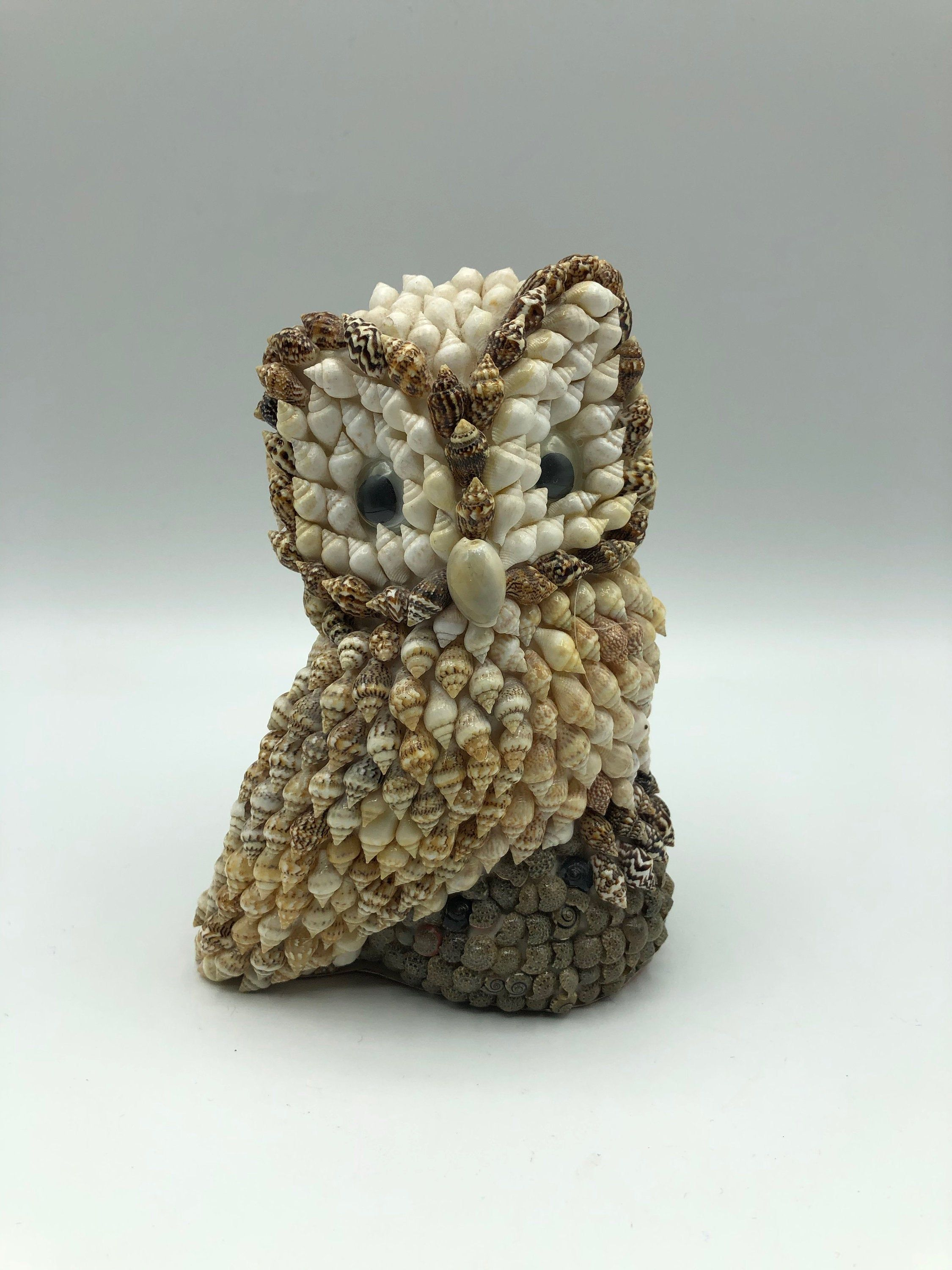 Vintage Shell Art Owl Seashell Handmade Ocean Seaside Retro Souvenir Novelty Beach Home Decor Owl Figurine Statue Knick Knack Kitsch Owls #knickknack