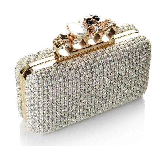 637a4a1b3 2013 Shinny CZ diamantes e pérola de luxo saco de noite, Anel de caveira de  strass moda feminina clutch bag, Elegante bolsa de jóias