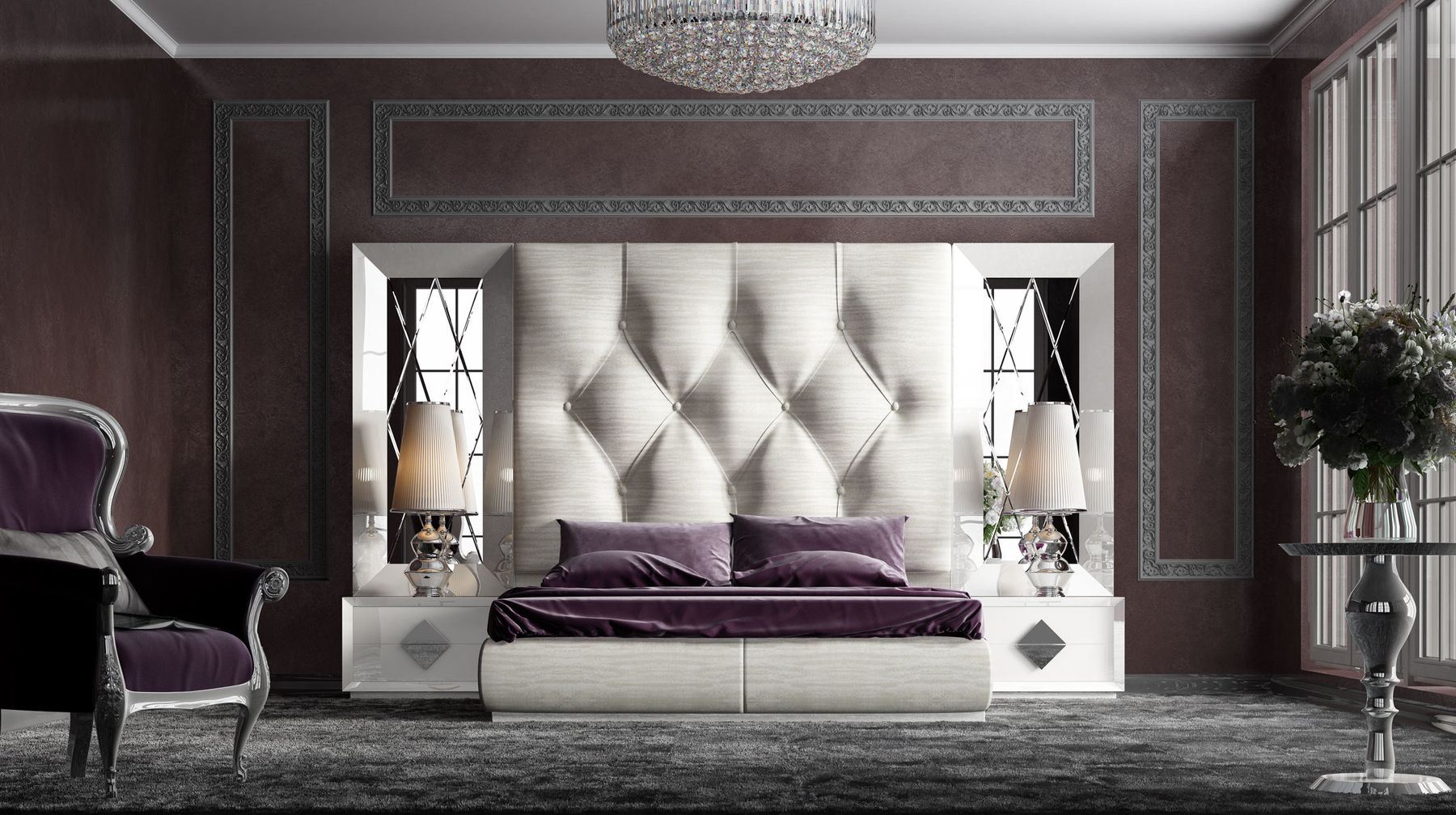 KL121 King Size Bed in 2020 High headboard beds, King