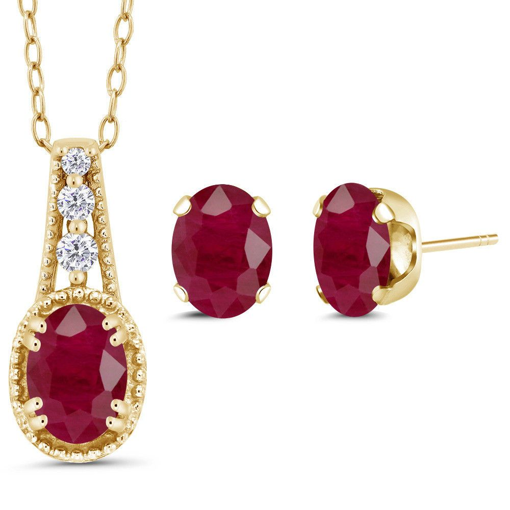 ct oval red ruby k yellow gold pendant earrings set fine