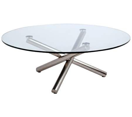 $444 Lux Brushed Nickel Round Glass Coffee Table | 55DowningStreet.com