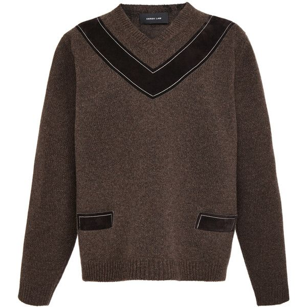Derek Lam Mahogany Shetland Wool V-Neck With Suede Trim ($1,990) ❤ liked on Polyvore featuring tops, sweaters, shetland wool sweater, v neck pullover, long sleeve pullover sweater, brown sweater and brown v neck sweater