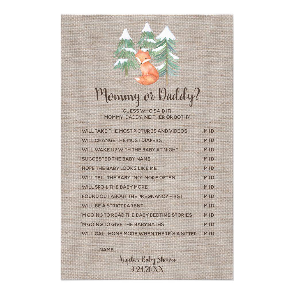 Winter Woodland Fox Mommy or Daddy Game Flyer | Zazzle.com