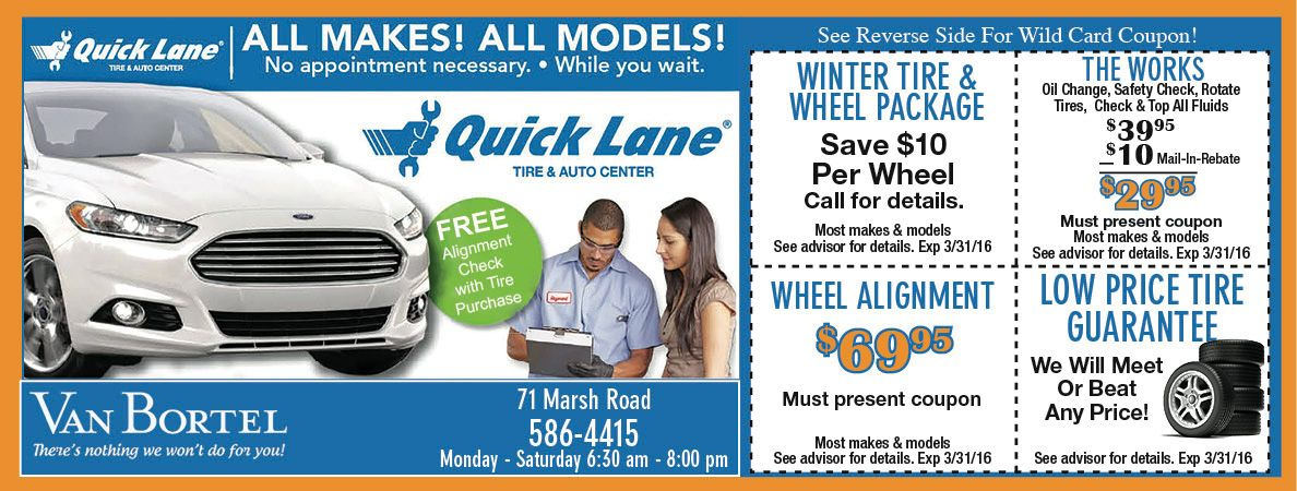 Quick Lane At Van Bortel Ford With Car Maintenance Coupons And Savings On Tires Stay Safe On The Rochester Ny Roads This Winter Hybrid Car Coupons Oil Change