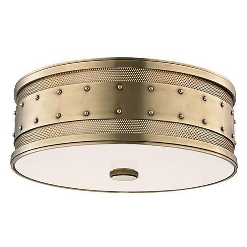 Gaines Aged Brass Three Light Flush Mount With Frosted Inside Clear Outside Glass Hudsonva