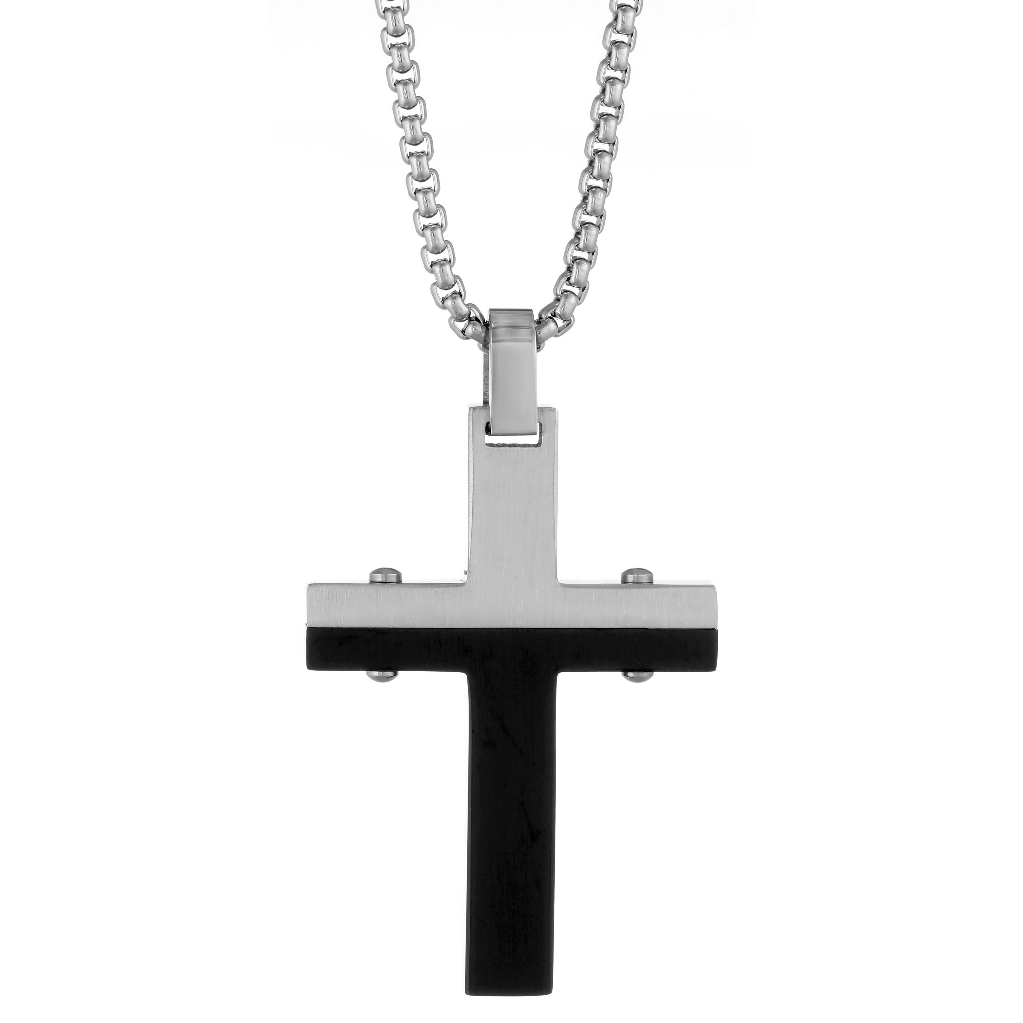 Stainless steel two tone cross pendant black and rose mens size stainless steel two tone cross pendant black and rose mens size 24 inch satin aloadofball Images