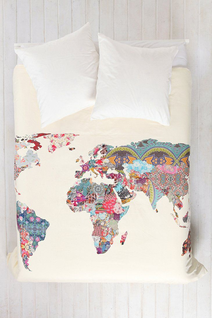 Gaby Saucedo Saucedo Saucedo Headley Patchwork World Map Duvet Cover ...