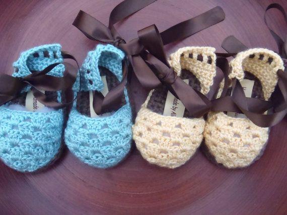 Sandalias de bebé ganchillo patrón por Oxente en Etsy   Ganchillo ...
