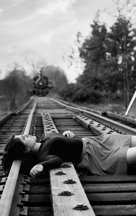 """«(Open Rp)» (I'm the girl, Aleah) I lay on the tracks, looking up at the beautiful clouds. I spot out a few shapes like a dog, a heart, and a train. Seeing the train cloud, I hear the bells and see the rails go down. I've decided to end my life. Why? I will never know. The love of my life committed suicide because if this world, so I thought I should do the same. """"I love you....."""" I whisper, the train inches away. I feel a ghostly kiss on my lips and a tear rolls off my nose. """"I love…"""