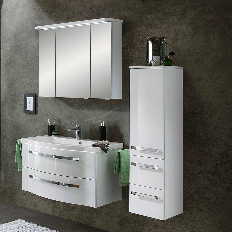 Badezimmer Hochschrank Weiss Glanzend Badmobel Kaufen Badmobel 100 Cm Breit Badmobel Set 80 Cm Bad Acc Badezimmer Set Spiegelschrank Badezimmer Komplett