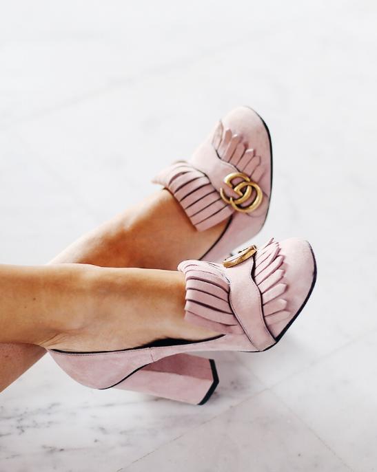 Gucci 'Marmont' blush pink suede pumps  |  Lydia Elise Millen  |  pinterest: @Blancazh
