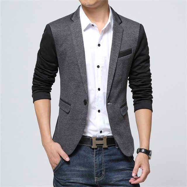 2017 New Fashion Casual Men Blazer Cotton Slim Korea Style Suit ...