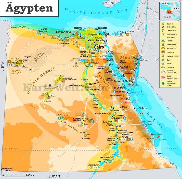Karte Von ägypten.Touristische Karte Von ägypten Karteplan Com