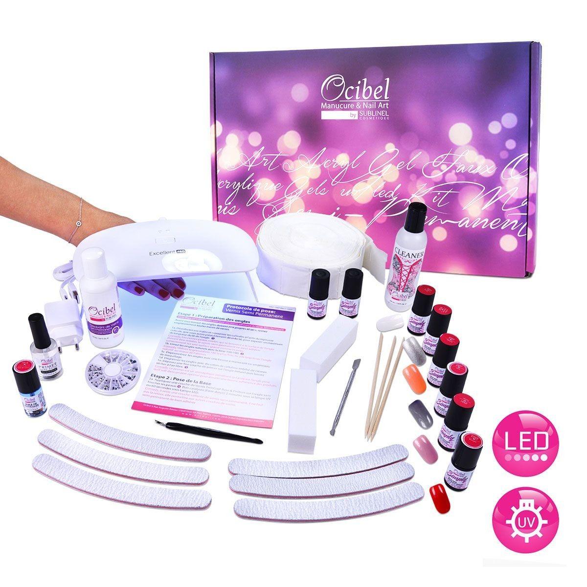 Coffret Kit Manucure Vernis Semi Permanent Lampe Led Uv Avec 6 Vsp