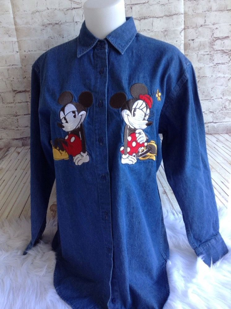Disney Store Mickey Minnie Mouse Embroidered Denim Blue