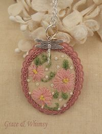 Flower Garden Collection  Embroidered pendant by GraceAndWhimsy, $30.00