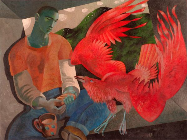 """""""The Prophet Fed by a Raven: Elijah and the Raven"""" by Clive Hicks-Jenkins, 2007"""