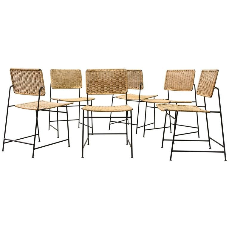 Set Of Six Hertamaria Witzemann Rattan And Wire Dining Chairs Alluring Wire Dining Room Chairs Decorating Inspiration