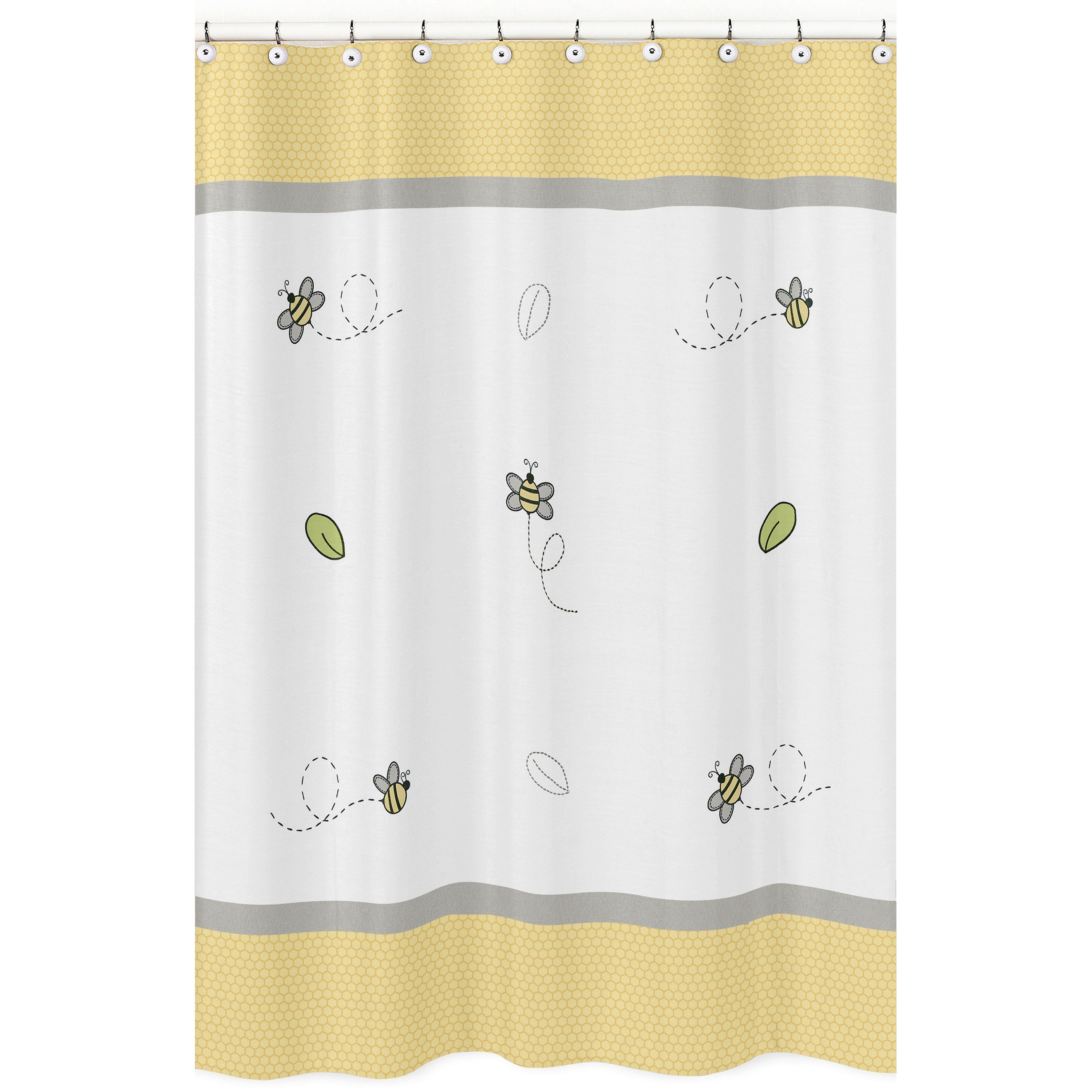 Sweet jojo designs honey bee collection shower curtain yellow