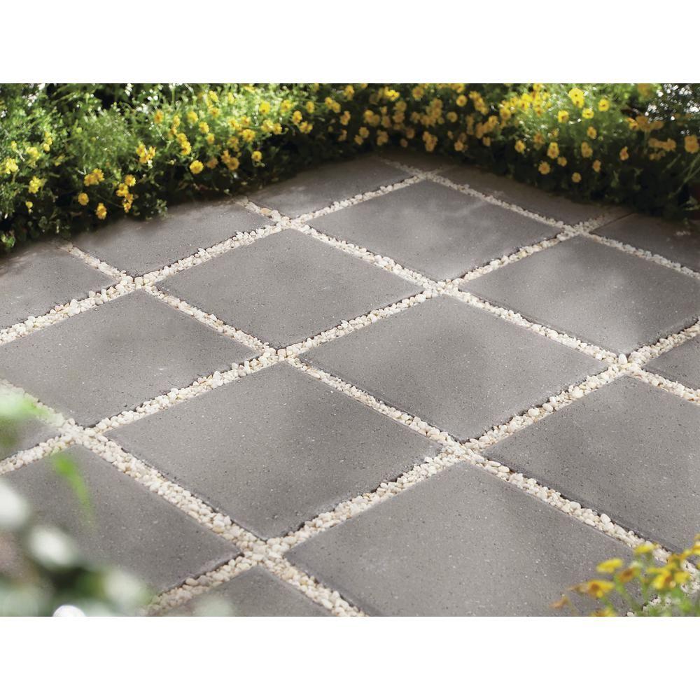 Pavestone 12 in. x 12 in. x 1.5 in. Pewter Square Concrete ... on Square Concrete Patio Ideas id=30652