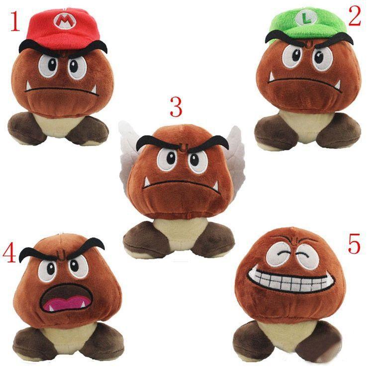Super Mario Bros Goomba Plush Stuffed Dolls 12CM 5 Styles
