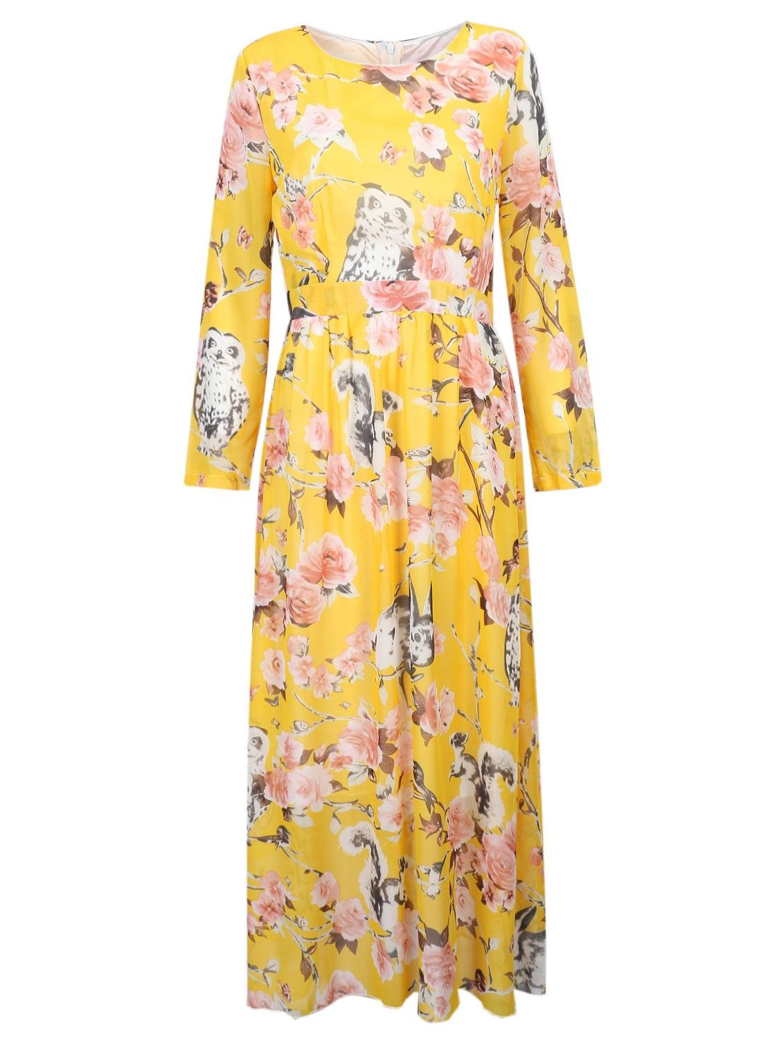 Yellow floral long sleeve maxi chiffon dress go modest go
