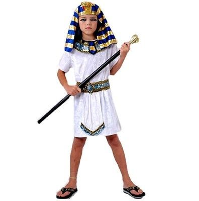 Kids Boys Pharaoh Egyptian King Book Week Historic Fancy Dress Costume Outfit