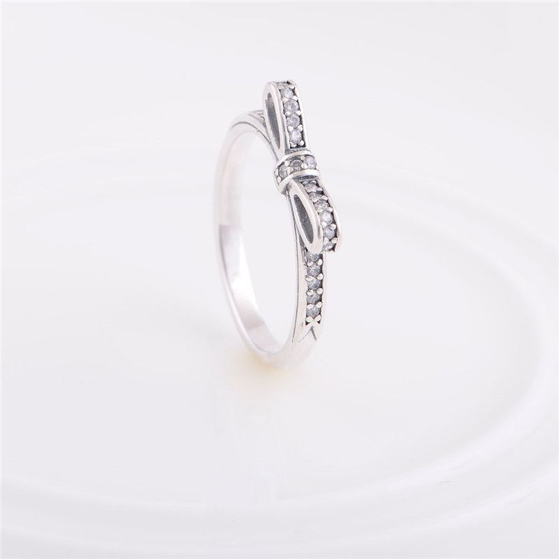 2aac5fe57 European New Authentic 925 Sterling Silver Wedding Rings Bow Pattern With  Crystal Engagement Ring For Women