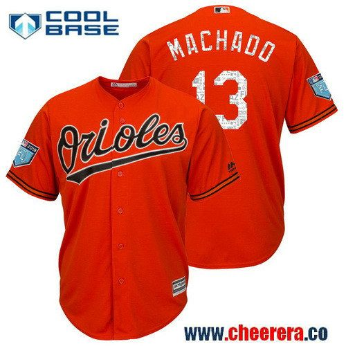 65175d38f ... new arrivals mens baltimore orioles 13 manny machado orange 2018 spring  training cool base player jersey