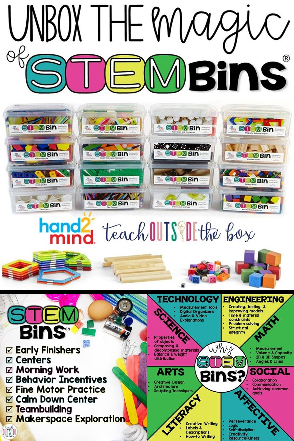 STEM Bins from hand2mind #stemactivitieselementary