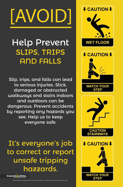 slip trip fall Safety posters, Health and safety poster
