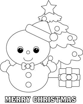 Christmas Snow Baby Tree Coloring Page