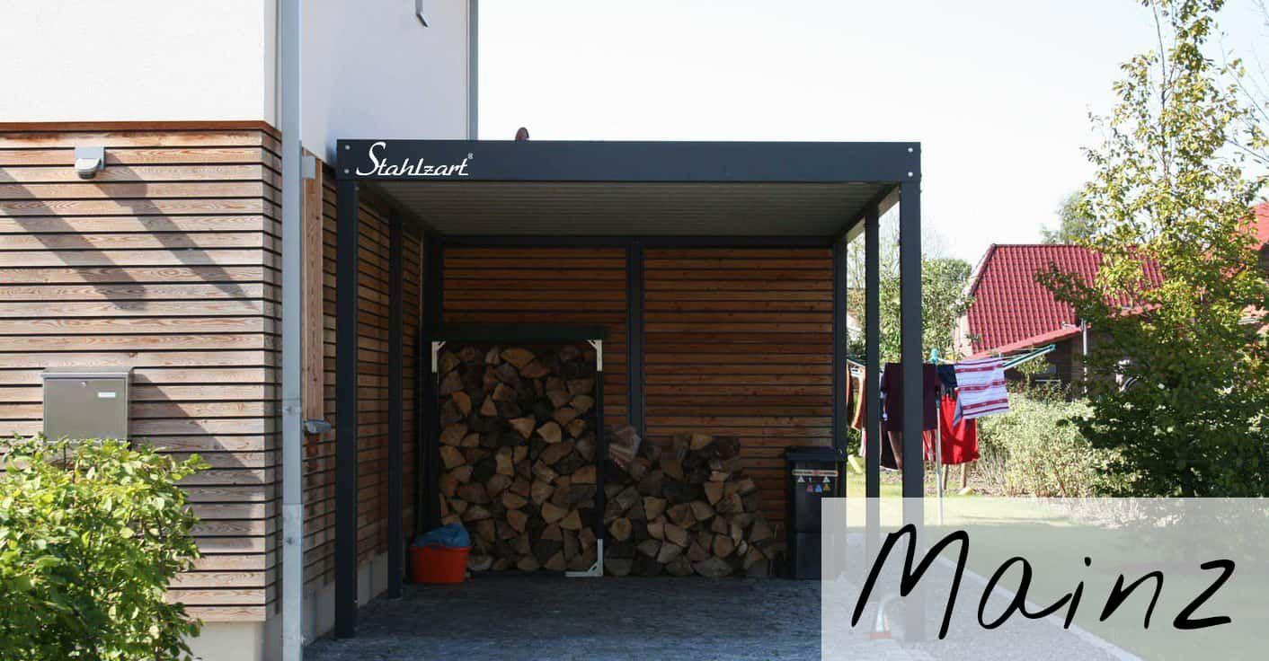 Einzelcarport Holz Metall Stahl mit Abstellraum modern