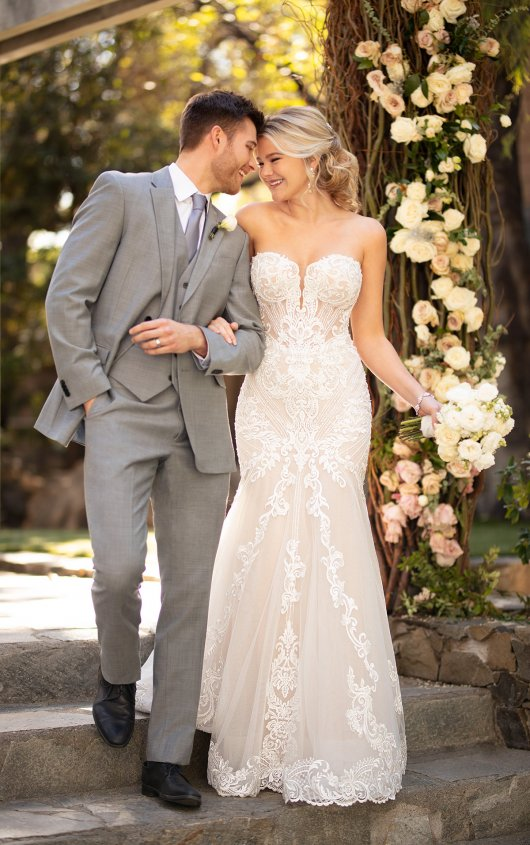 Strapless Sweetheart Fit And Flare Wedding Dress With