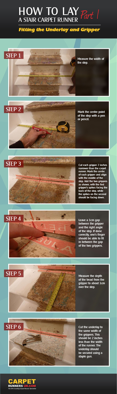 How To Lay A Stair Carpetrunner Infographic Part 1 Of The Guide Fitting The Underlay Gr Stair Runner Carpet How To Lay Carpet Carpet Stairs