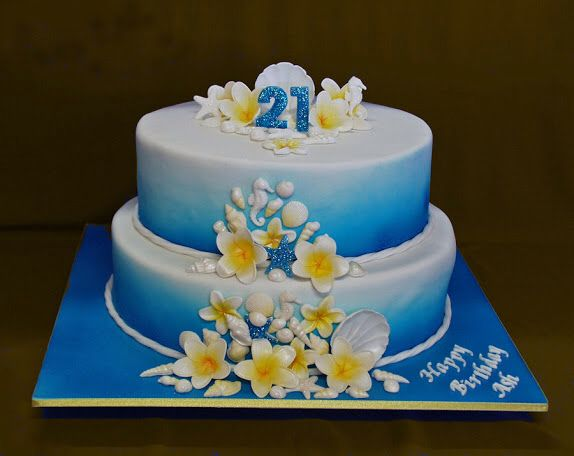 Blue And Yellow Birthday Cake Ocean Theme 21st Birthday With