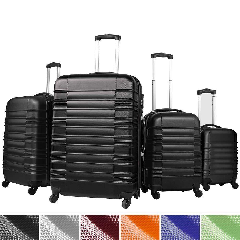 4 Lightweight Hard Shell Hardcase Set Suitcase Luggage Travel Hand ...