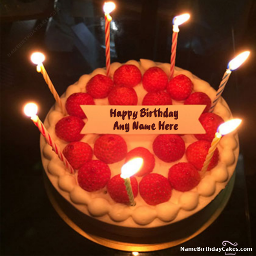 New Arrival Strawberry Shortcake With Candles With Name ...