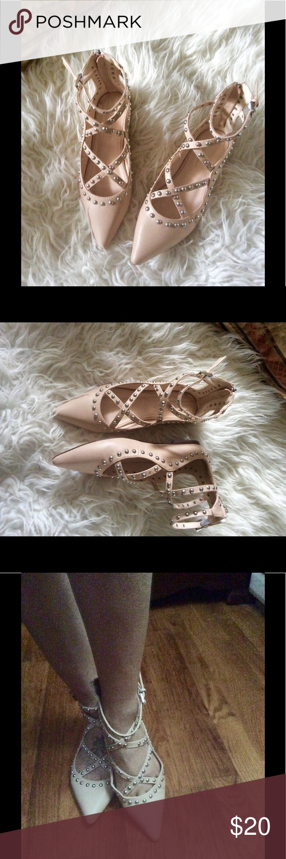 Pointed Toe Flats🌼 Beautiful shoes size 8... Worn once....See last pic for a missing pin Shoes Flats & Loafers