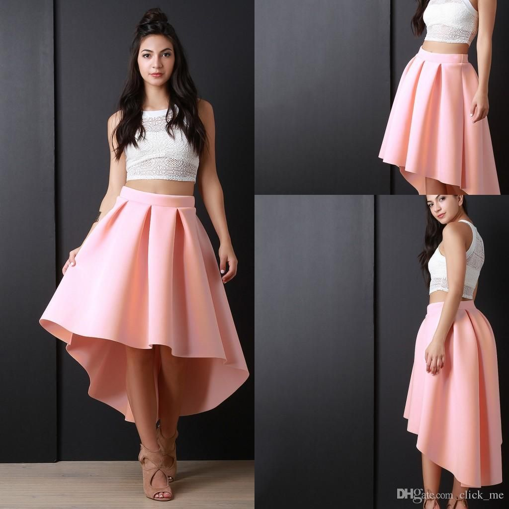 8 Newest Pink High Low Women Skirs For Teens Satin Pleats A