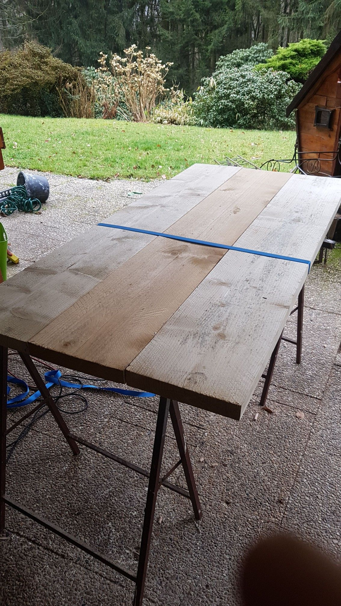 upcycling holzbohlen tisch 180 cm 80 cm | upcycling möbel